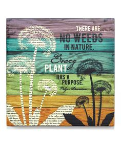 'No Weeds' Wall Plaque | Daily deals for moms, babies and kids  Found on zulily. For the sunroom I don't have.