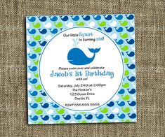 Preppy Whale Birthday Party Invitation PRINTABLE by MommiesInk