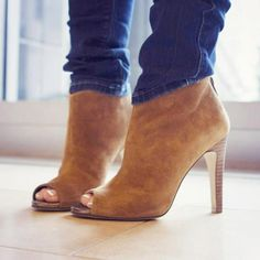 Open toe suede boot from Sole Society