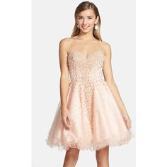 Women's Terani Couture Embellished Tulle Strapless Fit & Flare Dress and other apparel, accessories and trends. Browse and shop related looks.