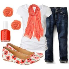 A bright scarf with a white t-shirt, so simple but gets the job done. Cute earrings and shoes