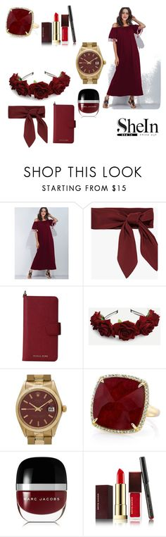 """""""Burgundy SheIn"""" by giulia-ostara-re ❤ liked on Polyvore featuring MICHAEL Michael Kors, Rolex, Anne Sisteron, Marc Jacobs and Kevyn Aucoin"""