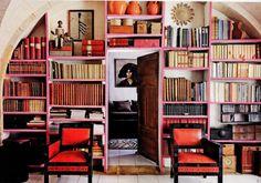 Bohemian library, as shown in Elle Decor (via Chapman Interiors) #books #bookshelves #home_library