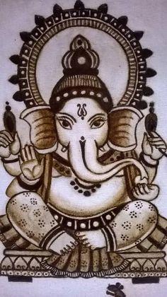 CoffeePaintings - | MyArtofCreations Ganesha Drawing, Ganesha Painting, Tanjore Painting, Ganesha Art, Lord Ganesha, Coffee Painting Canvas, Mural Painting, Watercolor Paintings, Outline Drawings