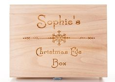 Personalised Engraved Wooden Christmas Eve Treat Box Snowflake Design
