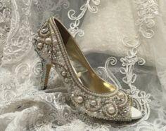 Wedding Bridal  Shoes Hand Made Rhinestones Pearls Lace