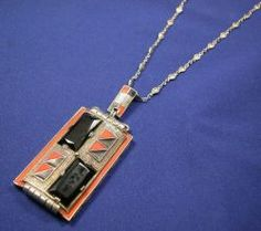Art Deco Sterling Silver and Enamel Pendant, Theodore Fahrner