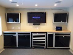 Overhead garage storage rack and accessories kit and garage storage cabinets near me. Garage Doors Prices, Garage Door Sizes, Garage Tools, Garage Shop, Garage House, Garage Workshop, Garage Bike, Garage Plans, Garage Wall Shelving