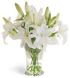 Casablanca Lily White Flower Arrangement traditional artificial flowers