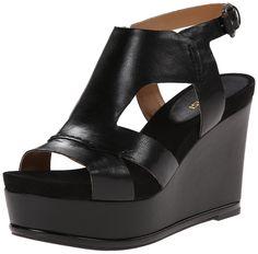 Nine West Women's Valonia Leather Wedge Sandal, Black, 5 M US