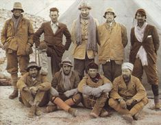 George Mallory (2nd on left at back), taken on his last Everest expedition and his death there in June 1924