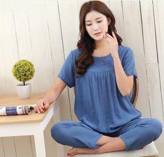 9907b23fd New Green Print Female Pajamas Set Sleepwear Chinese Women Cotton Linen  Pyjamas Suit Flower Nightwear M L XL XXL YZ089