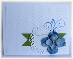 The card - swirl stamp is from Papertrey, doily is a Memory Box die cut, flowers are from Prima.  Colors are white, ballet blue and limeade. SU has a doily die cut