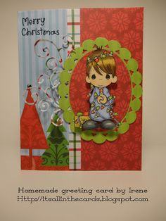 Christmas card with a Precious Moments coloring page (colored with Prismacolor pencils)