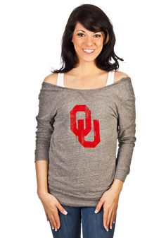 Oklahoma Sooners Womens Gray Scoop Back Long Sleeve Shirt