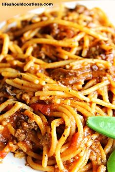CrockPot Spaghetti. It's so quick, uses less dishes, and tastes so much better this way!  LIFE SHOULD COST LESS