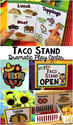 Taco Stand Dramatic Play - Menus, Order Forms, Name Tags and Labels to set up a Mexican Restaurant in the kitchen center - Play to Learn Preschool Dramatic Play Themes, Dramatic Play Area, Dramatic Play Centers, Restaurant Themes, Preschool Restaurant, Restaurant Week, Prop Box, Taco Stand, Baby Horses