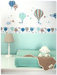 Heißluftballons Boys taupe/mint: Selbstklebende Kinderzimmer Bordüre, Wandsticker, passende Punktetapete in mint/weiß und Deko