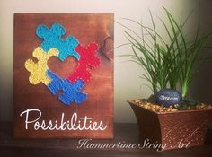 Autism awareness string art sign decor