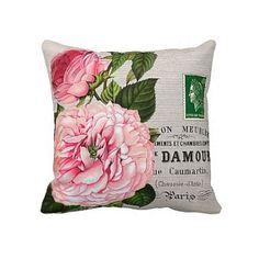 Oreiller couverture Rose Rose botanique coton et coussins/couverture de toile de jute