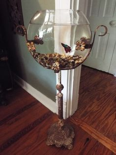 Victorian Iron Fish Bowl Stand and Fish Bowl Perfet Patina...would love to turn this into a terrarium.