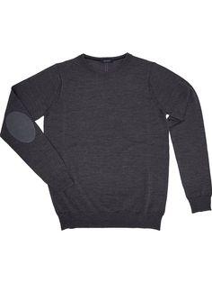 Dark gray men sweater with patches 100% merino wool