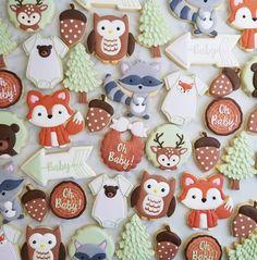 Woodland baby shower cookies. I never get tired of this theme! #decoratedcookies #yxe #woodlandcookies #woodlandbabyshower