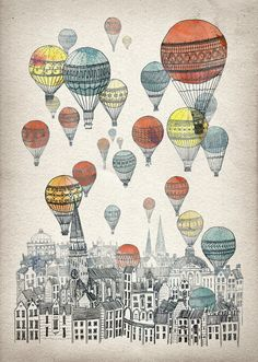 Voyages over Edinburgh Art Print. Hot Air Balloons + Scotland = Great idea for my boys' bedroom Art And Illustration, Illustrations, Balloon Illustration, Inspiration Art, Art Graphique, Art Plastique, Oeuvre D'art, Art Photography, Landscape Photography
