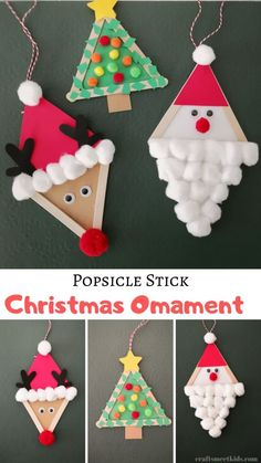 Popsicle Stick Christmas Omament Crafts For Kids .You can find For kids crafts easy and more on our website.Popsicle Stick Christmas Omament Crafts For Kids . Preschool Christmas Crafts, Christmas Arts And Crafts, Kids Christmas Ornaments, Winter Crafts For Kids, Xmas Crafts, Santa Christmas, Easy Christmas Crafts For Toddlers, Christmas Projects For Kids, Christmas Crafts For Kids To Make At School
