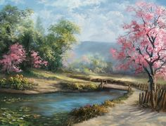 """""""Spring Day"""" Oil Painting by Kevin Hill Watch short oil painting lessons on YouTube: KevinOilPainting Visit my website:www.paintwithkevin.com Find me on Facebook: Kevin Hill Follow me on Twitter: @Kevin Hill"""