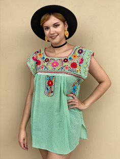 Lime green gingham blouse women, floral embroidery mexican blouse, picnic outfit, summer date top, festival wear, mexican party, EXTRA LARGE Mexican Top, Mexican Blouse, Mexican Outfit, Mexican Party, Petite Models, Picnic Outfits, Romper Pattern, Gingham Fabric, Floral Tunic