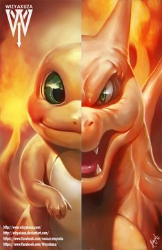Charmander and Charizard Split Pokemon Evolutions by Wizyakuza Pokemon Fan Art, Pokemon Go, Pokemon Legal, Pokemon Charmander, Charmander Evolution, Fire Pokemon, Pokemon Dragon, Pokemon Images, Pokemon Pictures