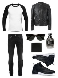 """Black or White ⚫️⚪️◼️◻️"" by jaydahrich ❤ liked on Polyvore featuring Alexander McQueen, Belstaff, Valentino, Ray-Ban, Burberry, men's fashion and menswear"