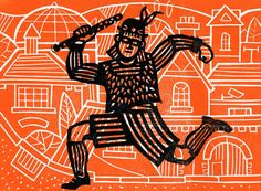 """Running Through the Town"" by Andrew Sharman (linocut)"