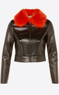 Black leather jacket with red fur collar