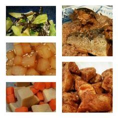 お弁当用おかず。青梗菜海苔和え、大根胡麻煮、人参と高野豆腐の煮物、鯖味噌煮、チキン南蛮。
