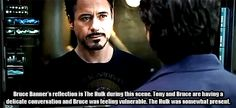 Bruce Banner's reflection. Mind. BLOWN.  This is why Joss Whedon is one of the best directors ever!