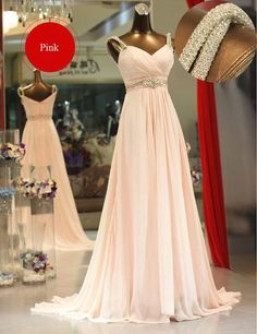 Chiffon Pink Prom Dress, Prom Dresses, Graduation Party Dresses, Formal Dress For Teens, BPD0388
