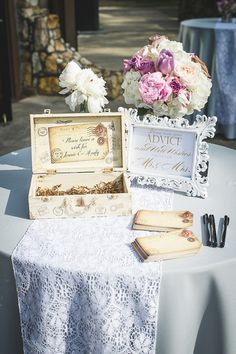 Advice for the bride and groom table. Rustic glam wedding table decor ideas blended with French Country wedding decor ideas. Pretty patterned box for a card holder idea and a white frame sign announcing the couple Country Wedding Decorations, Country Wedding Dresses, Rustic Weddings, Chic Wedding, Wedding Couples, Trendy Wedding, Wedding Tips, Dream Wedding, Summer Wedding