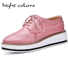 Brand Female Pink Footwear Shoes For Women Creepers Platform Oxfords Brogue Flats  Shoes Patent Leather Lace bc93ab02d04d