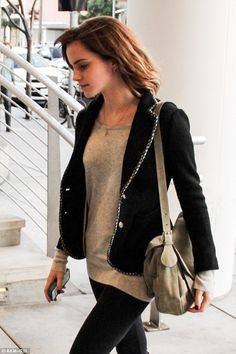 You looks way cute Em... #EmmaWatson #fashion #movies Fashionable: Emma Watson cut a chic figure as she headed to lunch in Beverly Hills on Tuesday