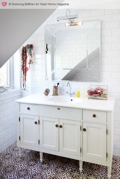 Attic bathroom : Laura Ashley mirror, Vedum console and moroccan tiles from Marrakesh Design. Marrakesh, Bathroom Inspiration, Interior Inspiration, Laura Ashley Bathroom, Flooring For Stairs, Flooring Ideas, Bathroom Renos, Bathroom Ideas, 1950s Bathroom