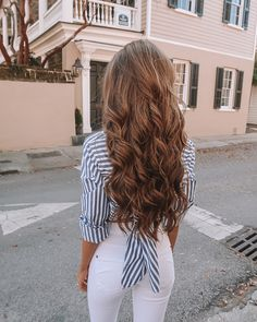 Women white and blue striped button blouse patchwork turn-down collar shirts high street back hollow out bow tie tops - Lange Haare Ideen Diy Hairstyles, Pretty Hairstyles, Evening Hairstyles, Teenage Hairstyles, Fashion Hairstyles, Elegant Hairstyles, Latest Hairstyles, Dream Hair, Blouse Vintage
