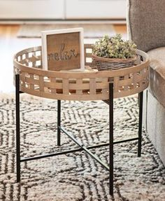 Farmhouse Home Decor, Furniture, Gifts Basket Weave Round Table - Round basket weave wood table Collapsible base made of black metal. Top measures high Diameter x Tall Weighs lbs Basket weave shelf also available Sisal, Round Coffee Table, Coffee Tray, Round Shelf, Fox Decor, Wall Decor, Wooden Basket, Round Basket, Basket Decoration