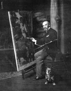 John William Waterhouse, British Pre-Raphaelite painter and his dog.