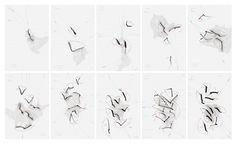WV 2011-049 bis 058 Unumkehrbare Prozesse 1 bis 10, Serie von 10 Zeichungen, Jorinde Voigt, Mexico DF 2011; Tinte, Bleistift auf Papier, je 89 cm x 59 cm, Unikate, Signiert