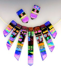 """McManus Glass & Jewelry  Kiln Formed Dichroic Art Glass Jewelry & Jewelry for the Home >> Epiphany Necklaces Dichroic Pendants Sets<< Includes a Choice of 16"""" or 18"""" Stainless Steel Cable"""