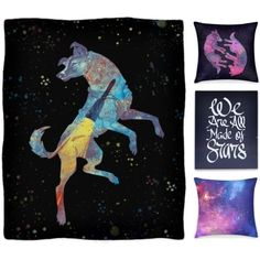 """""""Space Dogs"""" by cosmic-cat on Polyvore #space #stardust #dogs #spacedogs #galaxy #bedset #nerdhome"""