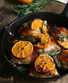 These Orange Rosemary Roasted Chicken Thighs are roasted in a flavorful citrus and herb marinade that turns into a wonderful glaze..