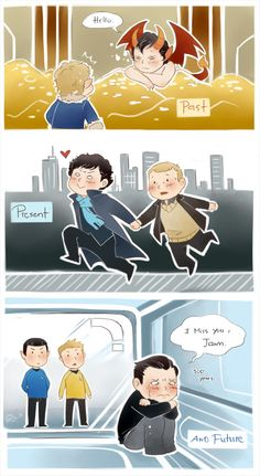 "John and Sherlock through time. Aww. ""Past, present and future"" by artist GorryBear"